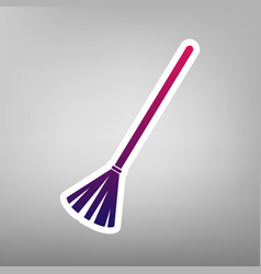 Sweeping broom sign purple gradient icon vector