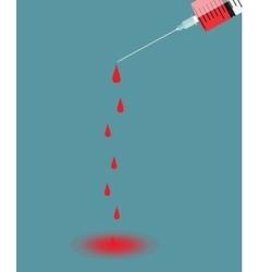 Syringe with needle on blue background - shot vector image