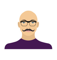 The face of a bald man with a mustache in glasses vector