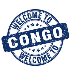 Welcome to congo blue round vintage stamp vector