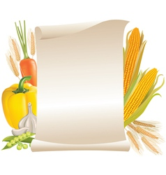 Harvest cereals and vegetable scroll vector