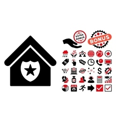 Realty protection flat icon with bonus vector
