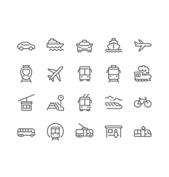 Line public transport icons vector