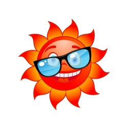 Happy sun in sunglasses vector