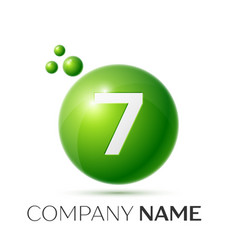 number seven splash green dots and bubbles number vector image