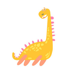 Cute funny yellow dinosaur prehistoric animal vector