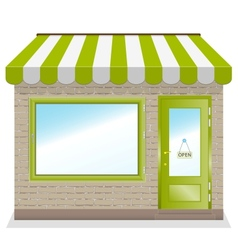 Cute shop icon with green awnings vector