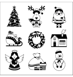 Christmas icons black and white vector