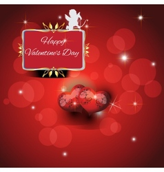 Festive red background with two hearts vector