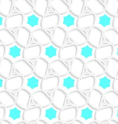 White 3d ornament with blue hexagons pattern vector