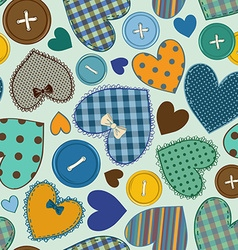Seamless pattern of heart patchworks and buttons vector