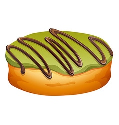 Doughnut with green and chocolate frosting vector