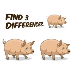 Find differences game pig vector