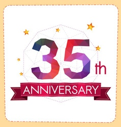 Colorful polygonal anniversary logo 2 035 vector