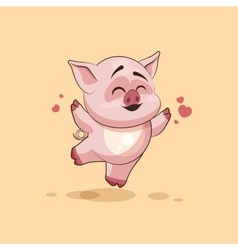 Isolated emoji character cartoon pig jumping for vector