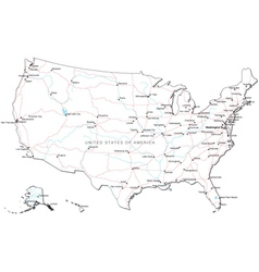 Usa black and white map vector