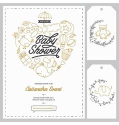 Baby shower invitation templates set hand drawn vector