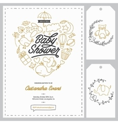 Baby shower invitation templates set Hand drawn vector image vector image