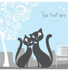 Black cat on a city background with space for text vector