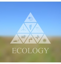 blurred landscape with eco icons vector image vector image