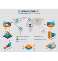 Business infographics elements 3d charts vector image vector image