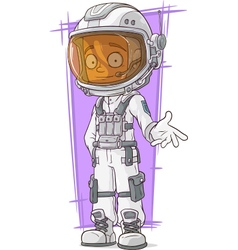 Cartoon astronaut in white space suit vector image vector image
