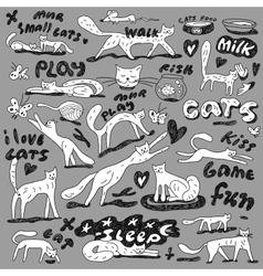 cats - doodles set vector image vector image