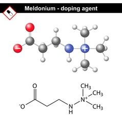 Chemical formula of meldonium molecule vector