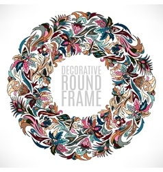 Colorful floral wreath background vector