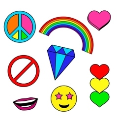 Colorful patches collection with heart rainbow vector