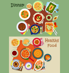 Dinner food icon with spanish and jewish dishes vector