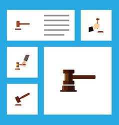 Flat icon lawyer set of government building law vector