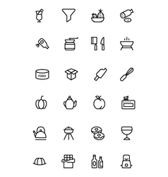 Food outline icons 12 vector