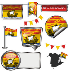 Glossy icons with flag of province new brunswick vector