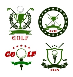 Golf game symbols with sport items vector image