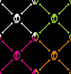 Halloween skull and bone pattern on black backgrou vector image vector image