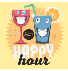 Happy hour cool funny cartoon of vector