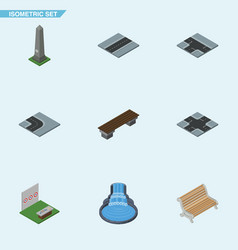 isometric street set of seat aiming game dc vector image