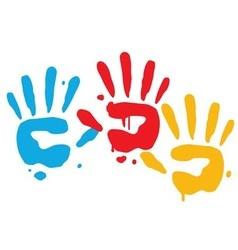 Kid playful hand prints vector