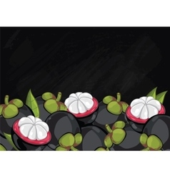 Mangosteen fruit composition on chalkboard vector