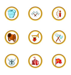 Medieval tactic icon set cartoon style vector