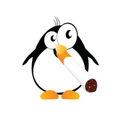 penguin with cigarette color vector image vector image