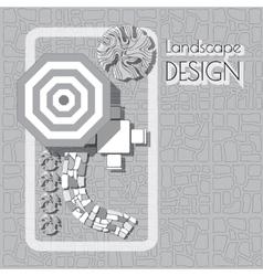 Plan of garden with furniture symbols stones vector image