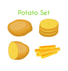 potatoes french fries cartoon flat style vector image vector image