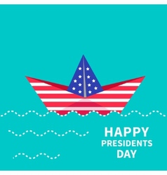 Presidents day background paper boat dash line vector