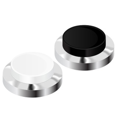 Push buttons black and white with chrome frame vector