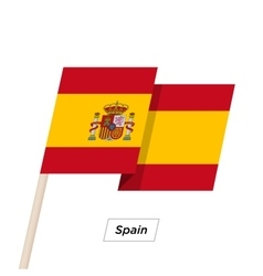 Spain ribbon waving flag isolated on white vector