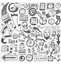 time clock doodles vector image vector image