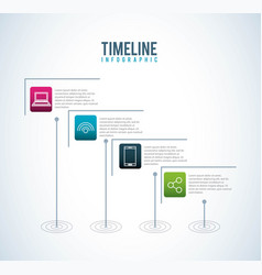 timeline infographic social media connection vector image