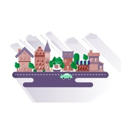Town streets in a flat design vector image
